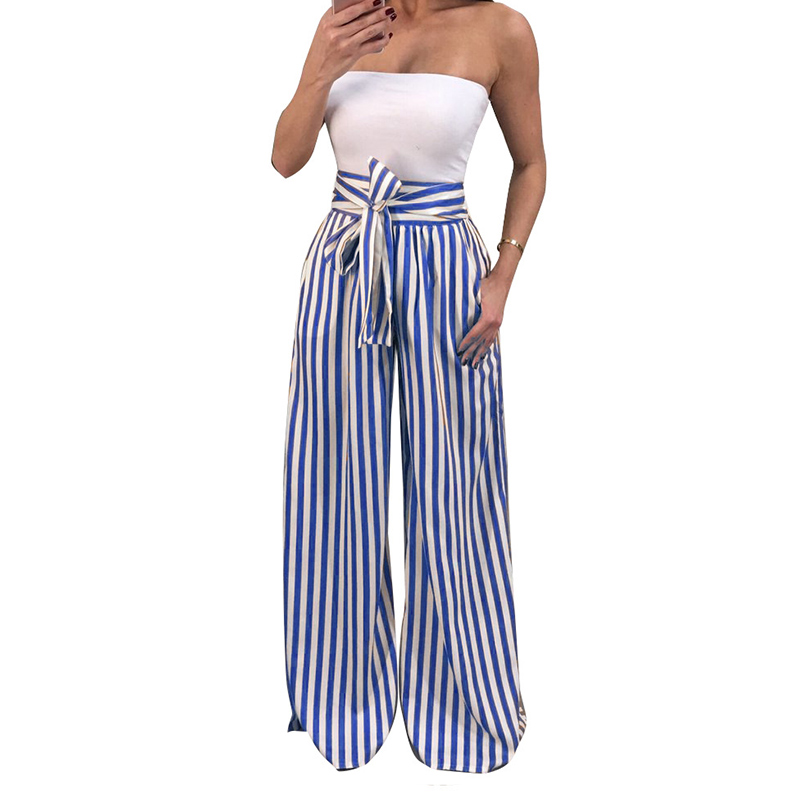 Newly Summer Women Wide Leg Pants Striped Lace-up High Waist Lady Casual Trousers