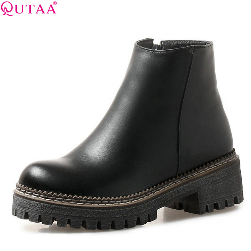 QUTAA 2020 Women Ankle Boots Round Toe Pu Leather All Match Square High Heel Fashion Winter Shoes Women Boots Big Size 34-43QUTAA 2020 Women Ankle Boots Round Toe Pu Leather All Match Square High Heel Fashion Winter Shoes Women Boots Big Size 34-43
