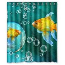 Luxury Smart Shower Curtains Goldfish Fish Custom Design Creative Curtain Bathroom Waterproof Polyester Fabric