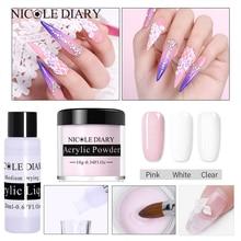 лучшая цена NICOLE DIARY Acrylic Powder Poly Nail Gel For Nail Polish Nail Art Decoration Tip Builder Crystal Manicure Set Kit Salon Nail