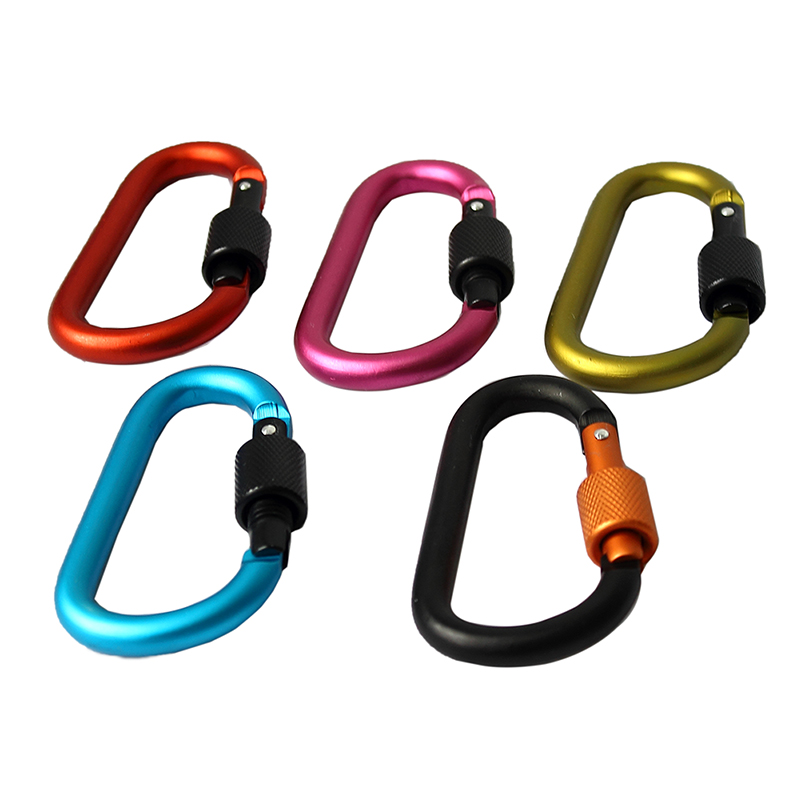 5pcs/pack  Aluminum Carabiner D-Ring Clip Hook Climbing Keychain Screwgate Screw Locking