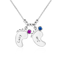 Mother Jewelry 925 Sterling Silver Personalized Engraved Baby Feet Pendant Birthstones Necklace Best Family Gift