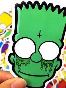 Creative Stickers Guitar-Case Skateboard Laptop-Luggage Mixed Mobile-Phone Simpson Cartoon