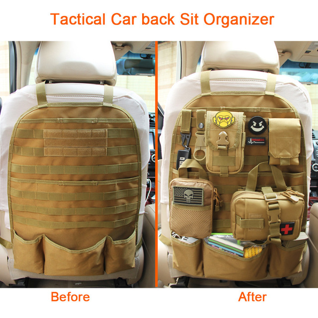 Tactical Car Back Seat Organizer Multi-function Sports Accessory Storage Pockets Military Package Outdoor Molle Seat Cover Bag