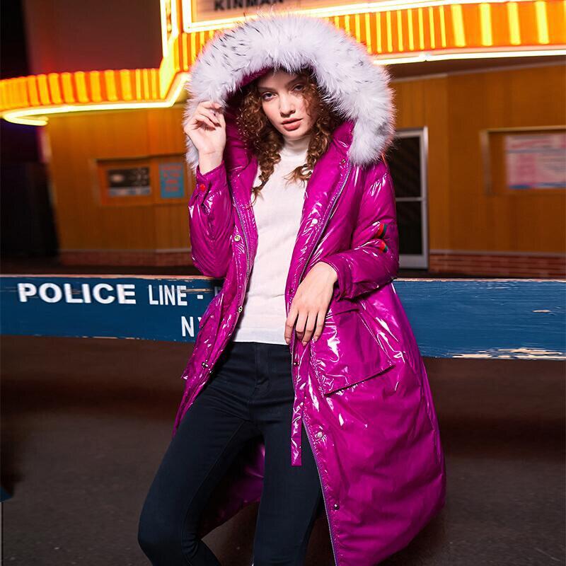 2018 New arrival winter bright adjustable waist   down     coats   women fur collar hooded long   down     coats