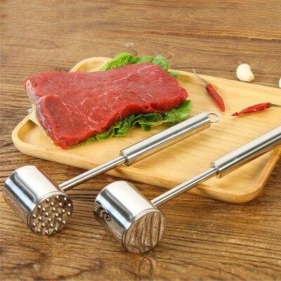 Stainless steel double faced hammer meat steak tender meat hammer double rib breaker 25 5 6cm in Meat Tenderizers Pounders from Home Garden