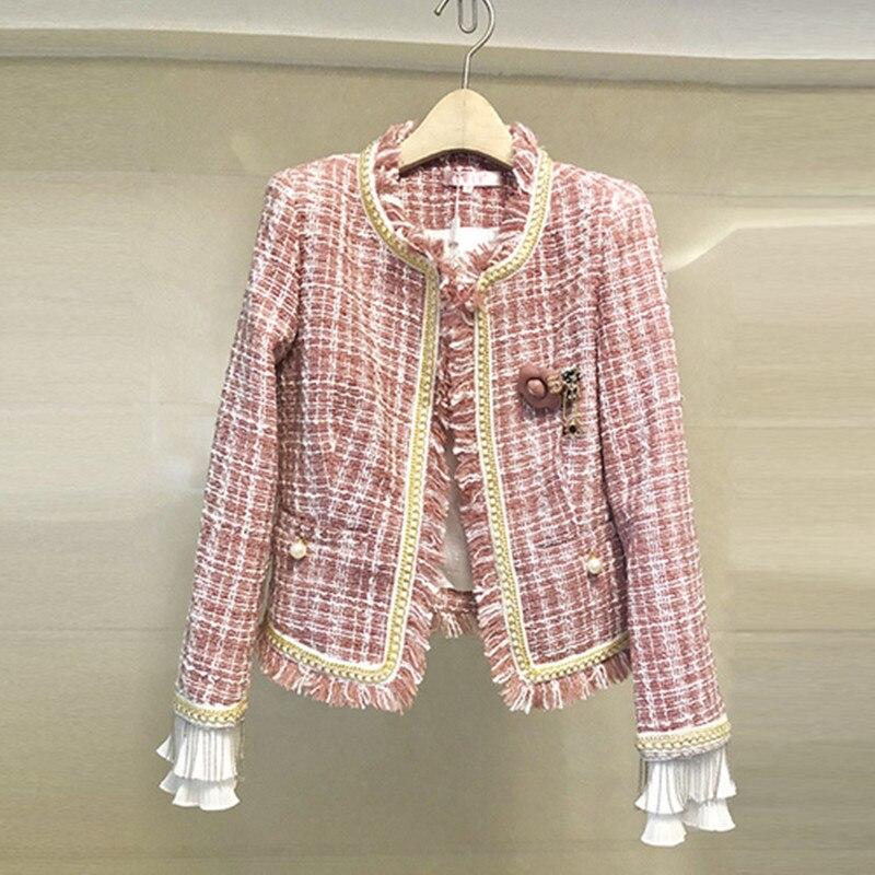 2019 nouvelle piste de haute qualité rose Plaid femmes Tweed pardessus automne gland perles à manches longues veste manteau manteaux de mode