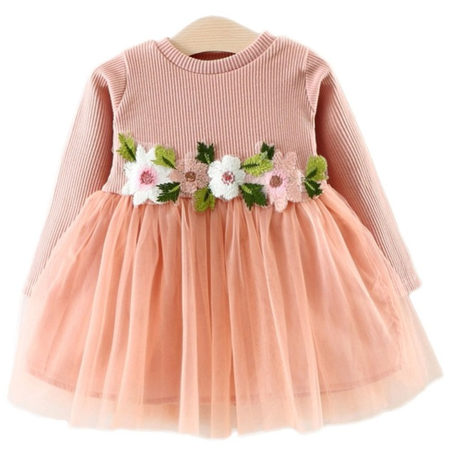 7d3cf12a0 Cute Dear Baby Girl Fashion Flower Long Sleeve Tulle Party Toddler Floral  Princess Dress Clothes Children Toddler Clothing