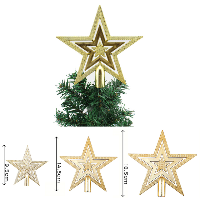 Us 0 98 1pcs New Gold Christmas Tree Topper Star Decoration Xmas Tree Ornament Xmas Tree Star 3 Size In Tree Toppers From Home Garden On