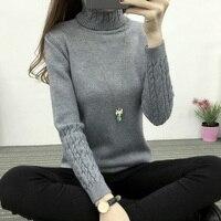 New Winter Dress Korean Turtleneck Shirt Sleeve Female Twist Head Thickened Slim Slim Sweater