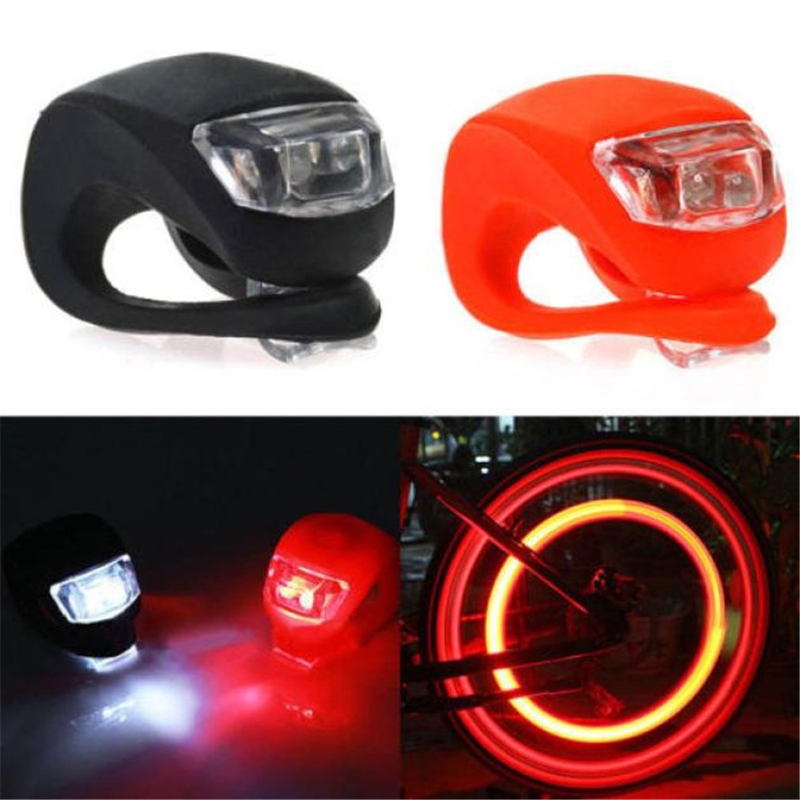 Cycling New Arrival 2x Silicone Bike Bicycle Cycling Head Front Rear Wheel Led Flash Light Lamp Cycling Life Bike Accessories Flashlight