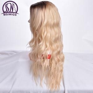 Image 3 - MSIWIGS Lange Ombre Blonde Pruiken voor Vrouwen Synthetisch Haar Krullend Pruiken Grauwe Grijs Natuurlijke Wortel Cosplay Haar Hittebestendige