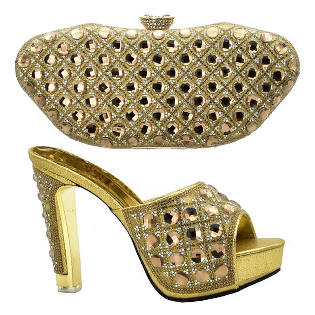 Latest Design Italian Shoes and Bags To Match Shoes with Bag Set Decorated with Rhinestone Matching Italian Shoe and Bag Set