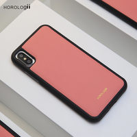 Horologii monogram leather phone case pink leather for Iphone X mobile cover dropship service