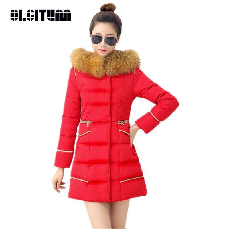 OLGITUM Parkas Women Coats Fashion Autumn Warm Winter Fur Collar Jackets Long Plus Size Hoodies Casual Cotton Outwear Hot CC363