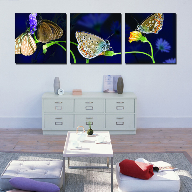 Modern Wall Painting Flower Pictures Dark Blue Butterfly Decorative Canvas Paintings Art Drawing Room Decoration
