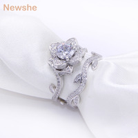 New 2 3Carats Flower White Gold Plated Wedding Ring For Women Engagement Bridal Sets