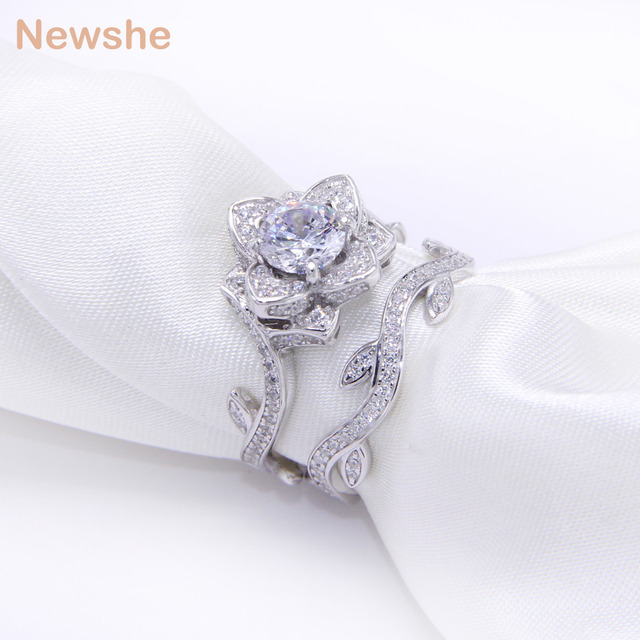ring for gift engagement aliexpress plated item silver flower ct new women set newshe rings bridal band gold sets rose jewelry white wedding