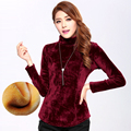 YNZZU Plus Size Velvet Tops T Shirt Women 2016 Autumn Winter Long Sleeve T-shirt Female Christmas Women Tee Shirt Femme YT158