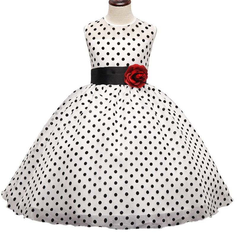 Flower Kids Dresses For Girls Wedding Gown Dress Black Polka Dots Teen Girl Clothes Children Clothing Tulle Dress For Girl 10Yrs 2016 new brand girl dress summer black polka dots children s girls dress wedding party baby clothes for teen girl 4 to 10 years