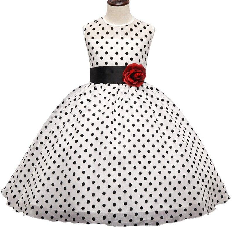Flower Kids Dresses For Girls Wedding Gown Dress Black Polka Dots Teen Girl Clothes Children Clothing Tulle Dress For Girl 10Yrs
