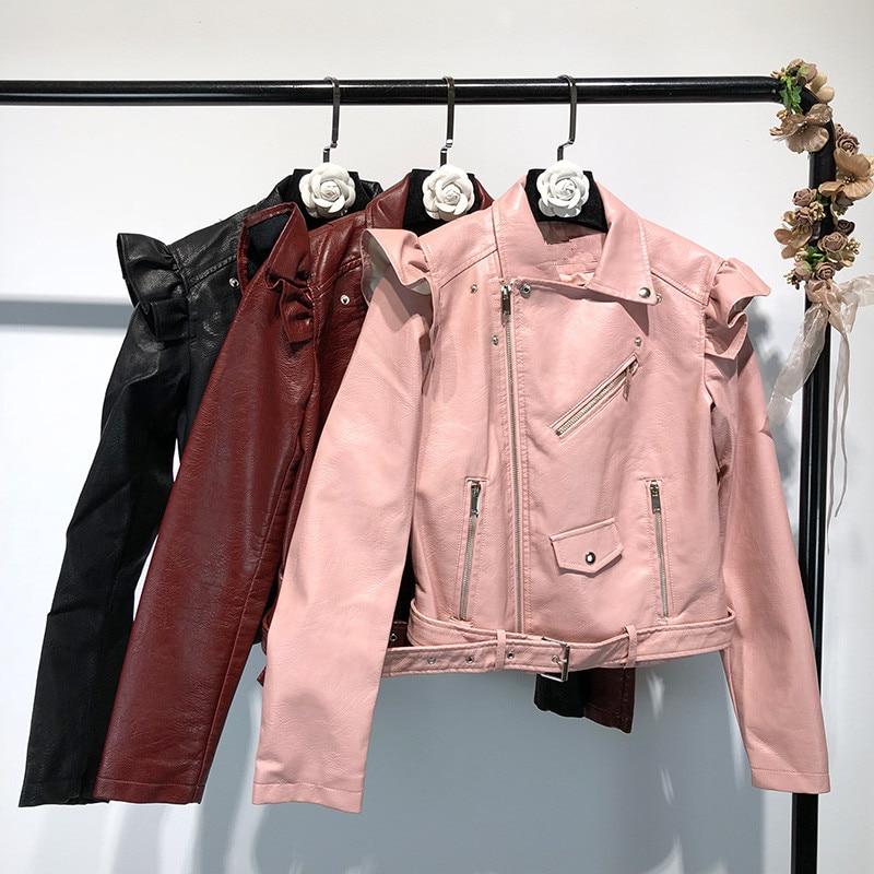 2018 À Glissière Moto Outwear Mode Pu Automne Casual Streetwear Y593 Manteau Femmes Fermetures Veste Volants Hiver YwYUq0