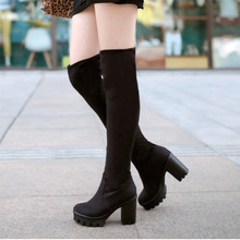 Women Faux Suede Stretch Over the Knee Boots Sexy Fashion Thick High Heels Boots Shoes Black Brown
