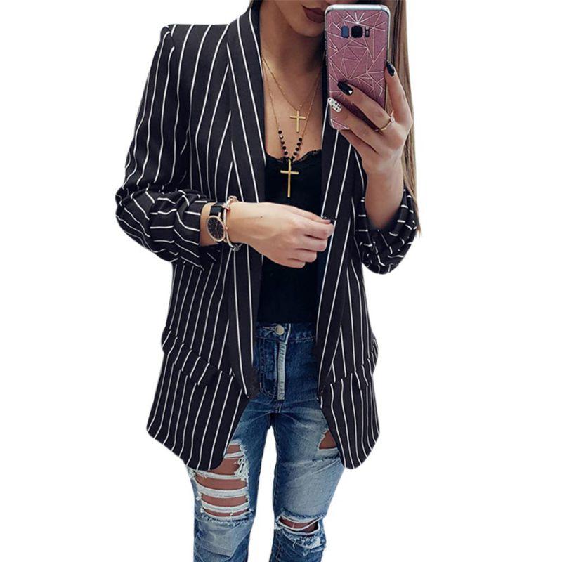 Einfach Zu Reparieren Symbol Der Marke Herbst Langarm Slim Fit Fashion Casual Blazer 2019 Büro Dame Gestreiften Blazer Vorne Offen Damen Mantel Frauen Formale Jacken