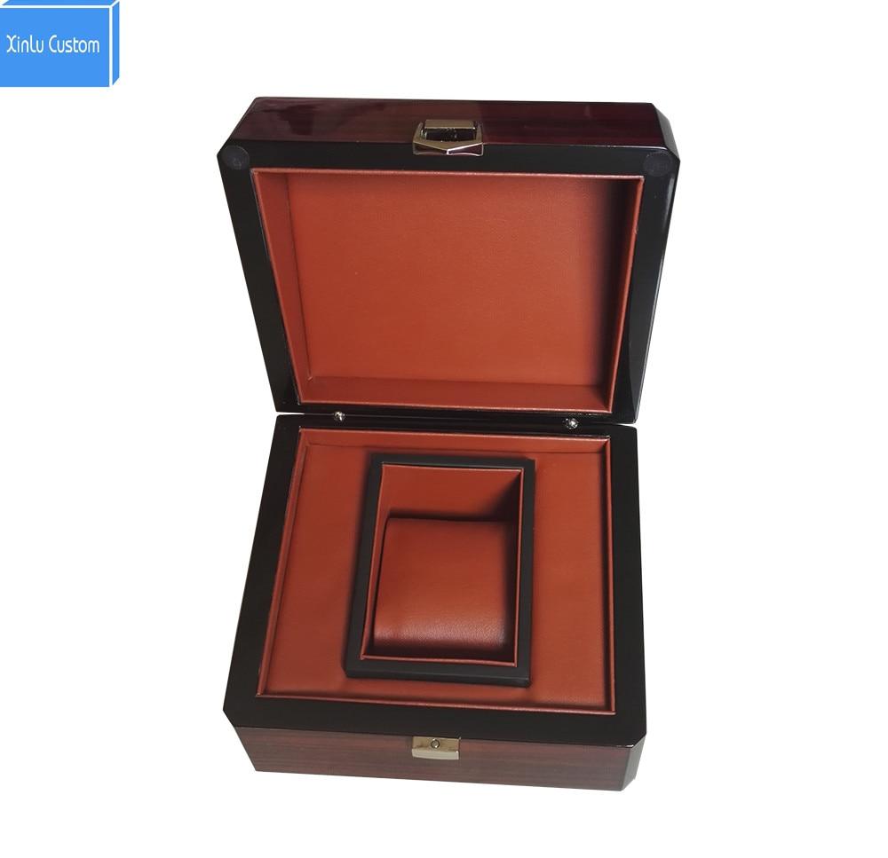 Boîte de montre en laque brillante à rayures en bois et étuis boîte de Promotion personnalisée bijoux cadeau boîtes d'affaires LOGO personnalisé livraison directe WB1011