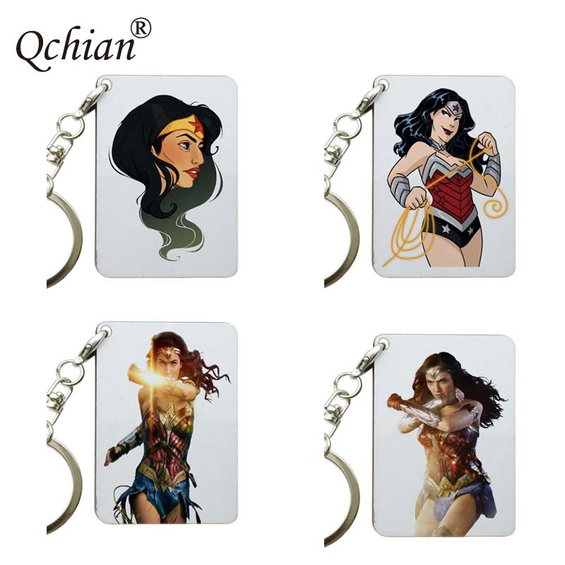 1Pcs Hot Movie Wonder Woman Print Keychains Key Chains Ring Holder Charm Jewelry drop-shipping