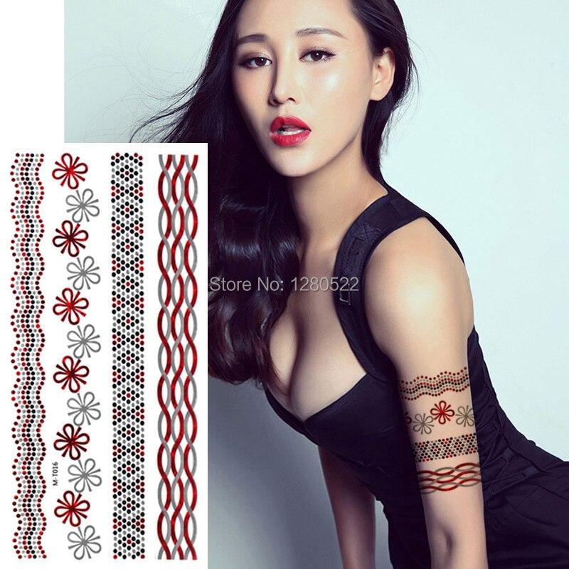 2 sheets Waterproof Temporary Flash Tattoo Flower Metallic Tattoo Red Silver Fake Arm Wrist Dot Chain Tatoo Body Art Tatuagem