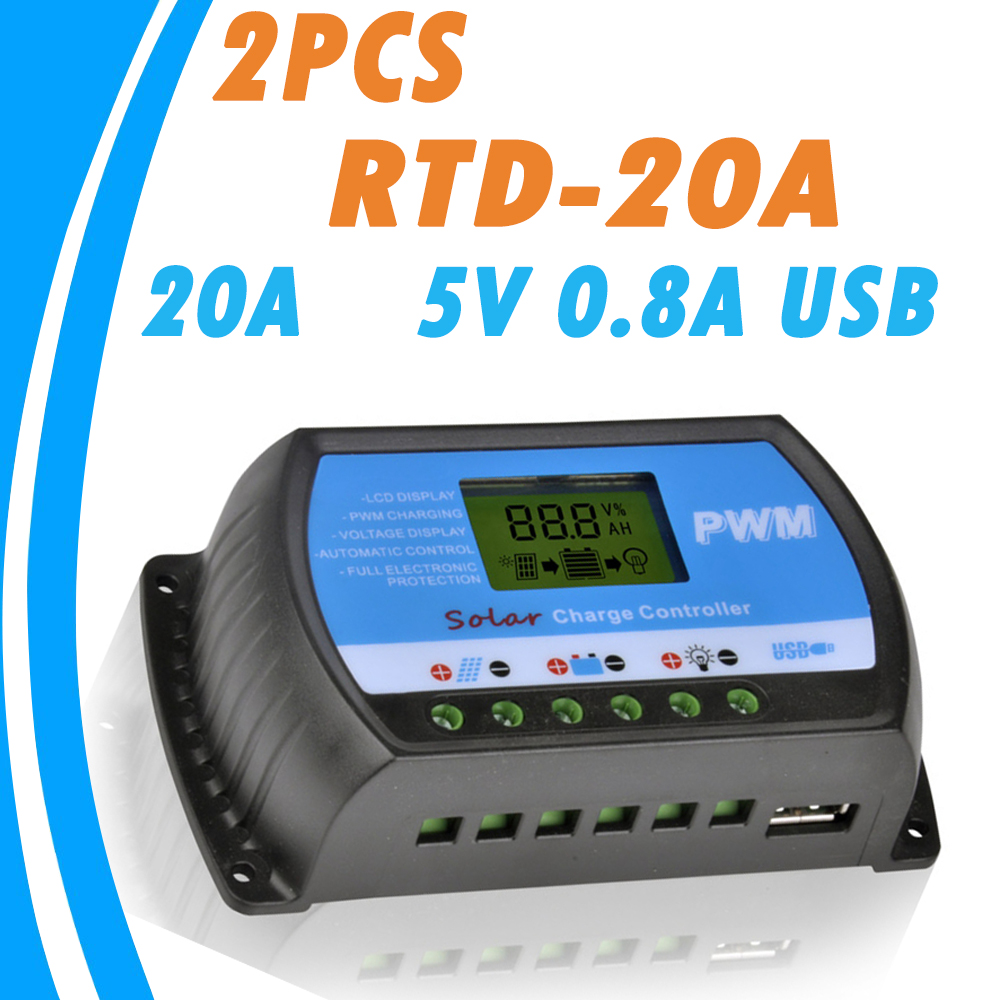 2PCS RTD-20A 12V 24V Solar Panel Charge and Discharge Controller LCD PWM Solar Regulator for Home PV System Mini Charger Contro