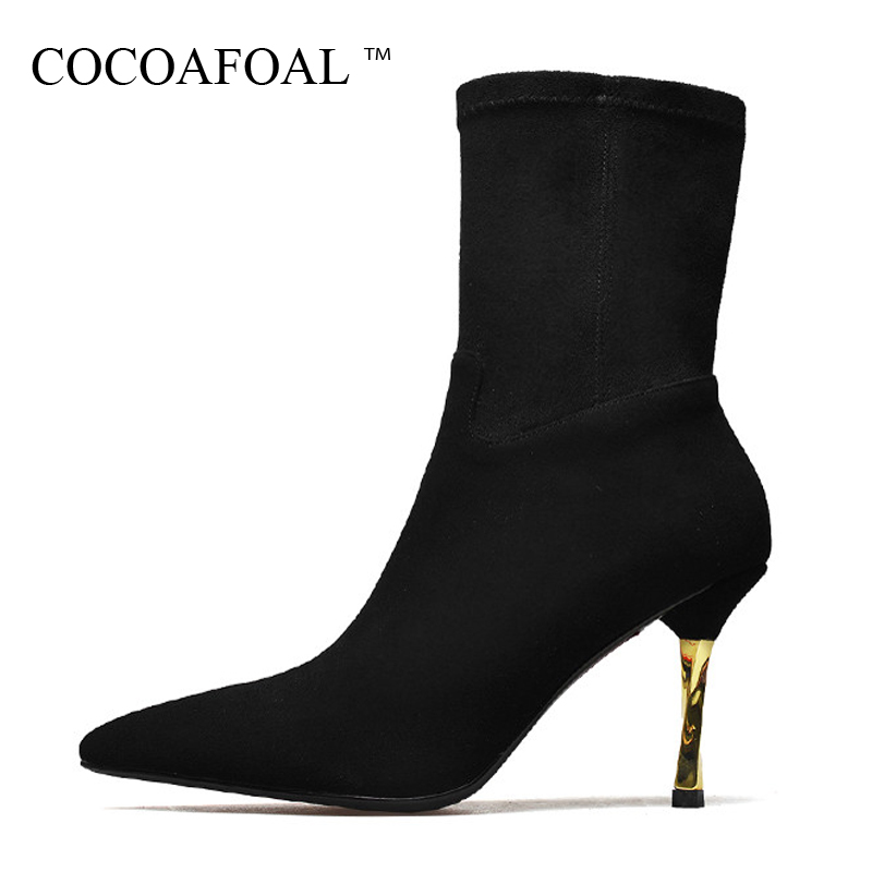 COCOAFOAL Woman Genuine Leather Ankle Boots Autumn Winter 9 CM High Heel Shoes Black Apricot Fashion Sexy Pointed Toe Boots 2018 cocoafoal woman genuine leather ankle boots autumn winter 9 cm high heel shoes black apricot fashion sexy pointed toe boots 2018