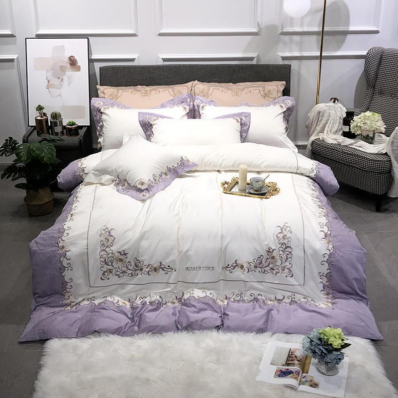 4 pièces reine roi taille violet bleu blanc broderie Floral ensemble de literie Ultra doux housse de couette drap de lit ensemble oreiller shams