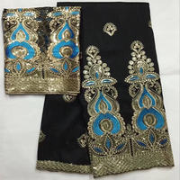 Black Color Embroidery Nigerian George With Blouse Set Raw Silk Fabric With 2 Yards Set George Lace With Sequins For Dress 30