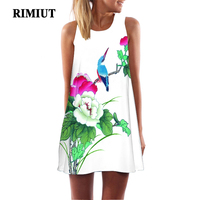 RIMIUT Multicolor Printing Birds Flower Sleeveless Beach Mini Dress Casual Women Loose O Neck Beach Dresses