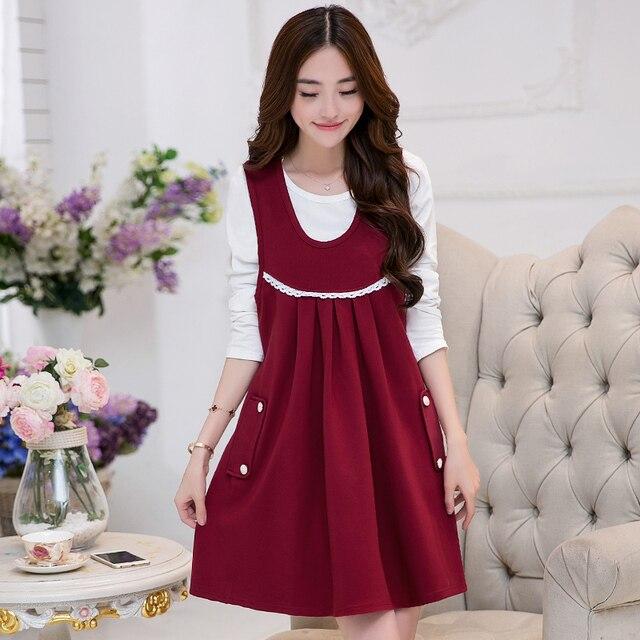 642eb67254c74 Toptan fiyat son hamile kıyafetleri 2019 sonbahar kış gebelik giyim seti  uzun kollu twinset elbise resmi