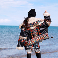 Free Shipping Fashion PU Leather Beaded Embroidery Coat Women National Outerwear Long Sleeve Thick Winter High Quality Jackets