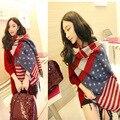 Мода женщины искусственный кашемировые шали шарф толстый американский флаг полосы звезды зима пашмины мыс шарфы Mujer Bufanda чал