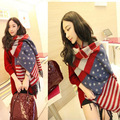 Fashion Women Artificial Cashmere Shawl Scarf Thick American Flag Stripes Stars Winter Pashmina Cape Scarves Mujer Bufanda Chal