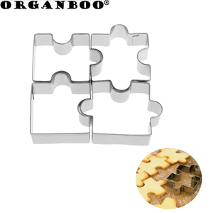 ORGANBOO 4pcs/lot Stainless Steel Cookie Cutter Mold Fondant Puzzle Piece Silver Cookie Vegetable Fruit Pattern Cutter
