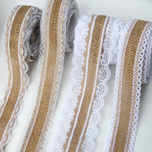 1M/Roll 2.5cm Handmade Lace Natural Hemp Wedding Rolls Two Satin Linen Ribbon For Bag Material Party Gift Crafts Decorative