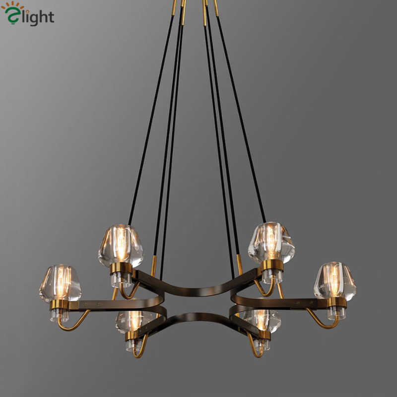 American Luxury Copper Retro Chandelier RH Loft LED E14 Pendant Chandelier Lustre Chandelier Lighting Drop Light For Living Room