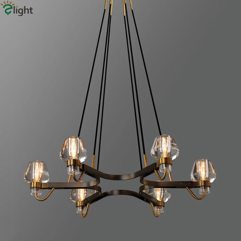 American Luxury Copper Retro Chandelier RH Loft LED E14 Pendant Chandelier Lustre Chandelier Lighting Drop Light For Living Room american retro industrial rh loft led chandelier lustre crystal pendant chandelier french style living room chandelier lighting