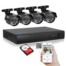 Hiseeu 4CH CCTV Sistemi 1080 P HDMI DVR Kiti 4 ADET 720 P 1200TVL 1.0MP Güvenlik Kameraları Gözetim Sistemi 1 TB HDD