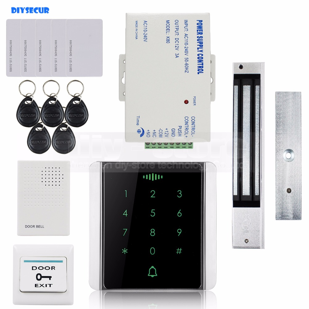 DIYSECUR 125KHz RFID Reader Password Keypad + 280kg Magnetic Lock + Doorbell Access Control System Security Kit diysecur 280kg magnetic lock 125khz rfid password keypad access control system security kit exit button k2