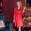 Sexy sleepwear female silk spaghetti strap nightgown robe thin Women spring and autumn plus size lounge Robes set