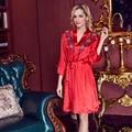 Sexy sleepwear female silk spaghetti strap nightgown robe thin Women spring and autumn plus size lounge Robes set