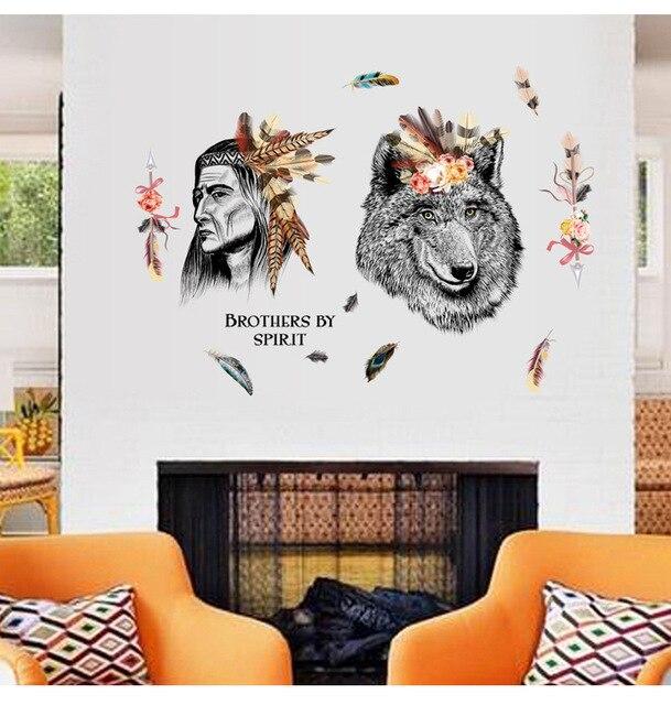 Grote Muurstickers Woonkamer.Us 6 54 Nieuwe Jagers En Wolf Grote Muurstickers Home Decor Woonkamer Slaapkamer Sticker Diy Art Mural Behang Verwijderbare Muursticker In Nieuwe