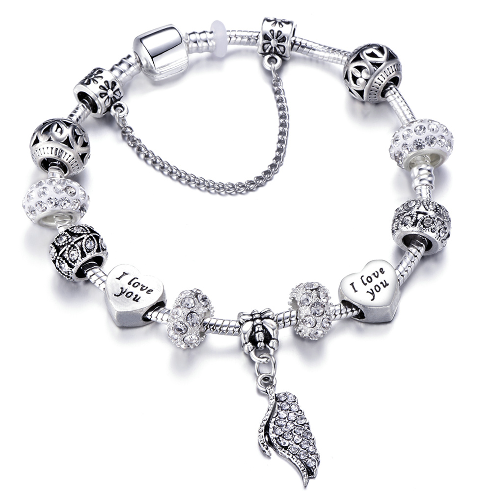 New Design Angel Wings Silver Charm Bracelet With Crown Permanent Love Charms Fit Pandora Bracelets For Women Jewelry